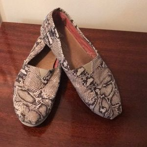 Tom's canvas brown snake print shoe